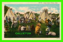 INDIENS -  IOSAGE INDIAN VILLAGE, OKLA - ANIMATED - C.T. AMERICAN ART - OKLAHOMA NEWS CO - - Indiens De L'Amerique Du Nord