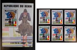 BENIN 1999 GRAND PRIX HIPPISME CHEVAUX PFERD HORSE HORSES FULL SET MICHEL Mi 1223 /8 1228 +BF BLOC SHEET 55 RARE MNH **. - Chevaux