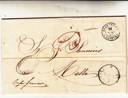 Alessandria D'Egitto Per Malta. Lettera Con Contenuto. 1850 Timbro In Basso A Dx Del Lazzaretto. - Egitto