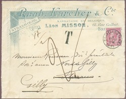 N°46 Obl. Sc BRUXELLES (LUX.) Sur Devant Ill. RAAB KARCHER & Co. Du 6 Août 1894 Vers Fleurus (biffé) / Renvoi Gilly Et T - 1884-1891 Léopold II