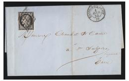 FRANCE --1850-- LETTRE DE CASTRES POUR ST SULPICE- T à D TYPE 15 -- GRILLE SUR N°3--TIMBRE TOUCHE-- - Poststempel (Briefe)
