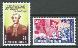 Togo YT N°906/907 Débarquement De La Fayette En Amérique Neuf ** - Togo (1960-...)