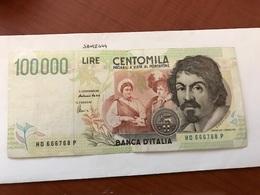 Italy Caravaggio  Banknote 100000 Lira - [ 2] 1946-… : Repubblica
