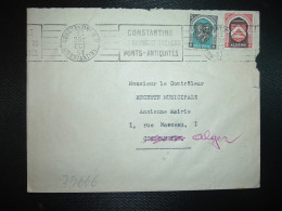 LETTRE TP CONSTANTINE 10F + ALGER 5F OBL.MEC.23 OCT 51 CONSTANTINE CONSTANTINE - Covers & Documents