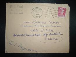LETTRE TP M. DE MULLER 15F OBL.MEC.9-10 1956 MASCARA ORAN à Sous Lieutenant CARRON Ingénieur Des Pompes Funèbres - Algeria (1924-1962)