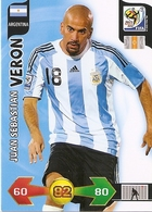 CARTE PANINI ADRENALYN COUPE DU MONDE FIFA AFRIQUE DU SUD 2010 ARGENTINE JUAN SEBASTIAN VERON - Trading Cards