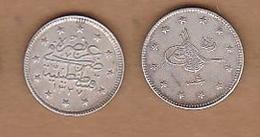 AC - OTTOMAN - TURKEY 2 KURUS 1327 - 4  SILVER COIN RARE TO FIND KM#749 MEHMED RESAD 1327 - 1336 = 1909 - 1918 - Türkei