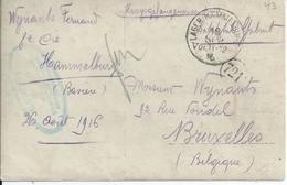 Fotokaart Van Een Krijgsgevangene In Lager Hammelburg Naar Brussel Met Kampcensuur 1916 - Guerre 14-18