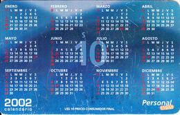 ARGENTINA - Calendar 2002, Personal Prepaid Card $10, 11/01, Used - Argentina