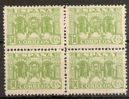 Edifil 810** Mnh 60 Céntimos Verde Bloquex4  Junta Defensa Nacional  1936/137 NL848 - 1931-50 Neufs
