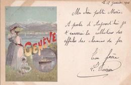 CPA Illustrée ART NOUVEAU Hugo D' ALESI  PUB Chemin De FER PLM  GENEVE SUISSE Femmes ENFANT Bord Du LAC Timbre 1901 - D'Alési, Hugo