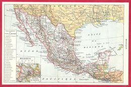 Carte Du Mexique, Liste Des états Du Mexique, Larousse 1908 - Old Paper