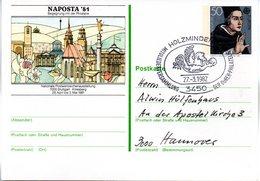 """BRD Amtliche GZS-Sonderpostk. PSo 6 """"NAPOSTA'81 Stuttgart"""" WSt """"Albertus Magnus"""" 50(Pf), SSt 27.3.82 HOLZMINDEN - BRD"""