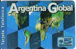 ARGENTINA - World Map, Argentina Global, TechTel Prepaid Card $5, 02/02, Used - Argentina
