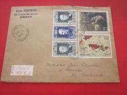 Lettre Recommandé 1971 Aff. Multiple Tableaux Lascaux /Millet +Hommes Célèbres CAD Manuel Bordeaux Bourse Pr Sauternes - Marcofilia (sobres)