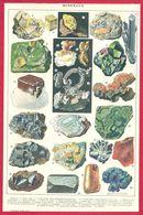 Minéraux, Illustration Maurice Dessertenne, Soufre Natif, Pyrite De Fer, Stibine, Quartz, Galène...Larousse 1908 - Old Paper