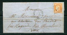 Lettre Du 16 Août 1875 De PARIS Gare De Lyon- Y&T N°38- PGL (divers Cachets Au Dos) - 1849-1876: Periodo Classico