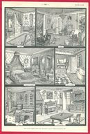 Mobilier D'une Maison Bourgeoise, Larousse 1908 - Old Paper
