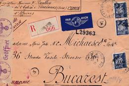 LETTRE RECOMMANDÉE / PAR AVION - ENVOI De PARIS à BUCAREST En MAI 1943 - CENSURE ALLEMANDE Et ROUMAINE - RARE ! (aa051) - Postmark Collection (Covers)