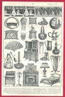 Modern Style, Art Nouveau, Illustration Henri Faucher Gudin, Mobilier, Objet, Bijou, Larousse 1908 - Old Paper