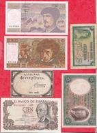 Autres-Europe 6 Billets --1 Et 2 France En XF/SUP+ 1 Assignat 3  Espagne  Dans L 'état (PRIX DE DEPART MINI) - Billets