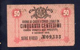 Buono Di Cassa 50 Centesimi 2/1/1918 (circolata) - [ 5] Schatzamt