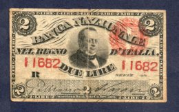 Banconota 2 Lire - Regno D'Italia 25/7/1866 Circolata - [ 1] …-1946 : Royaume