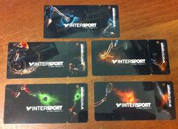 5 CARTES CADEAUX INTERSPORT FRANCE GIFT CARD POUR COLLECTIONNEUR NO PHONECARD CARD NO CARTE A PUCE PAS TÉLÉCARTE - Gift Cards