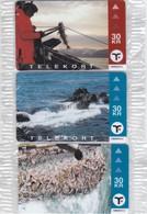 Faroe Islands, OD-025 - 27, Set Of 3 Cards, Mint In Blister, Faroese Fishing, 2 Scans. - Faroe Islands