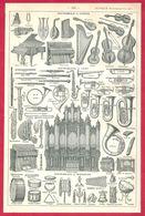 Instruments De Musique, Instrument, Illustration René Leblond, Larousse 1908 - Old Paper