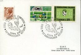38065  Italia, Special Postmark 1984 Coppa Rimet  50th Anniversary Of The Victory, Cardano, Football Rimet Cup - Brieven En Documenten