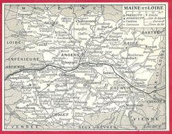 Carte Du Département De Maine Et Loire, Préfecture, Sous Préfecture, Chef Lieu De Canton, Commune, évêché..Larousse 1908 - Old Paper