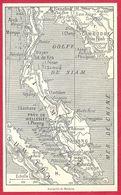 Carte De La Presqu'île De Malacca, Larousse 1908 - Old Paper