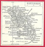 Carte De L'île Martinique, Larousse 1908 - Old Paper