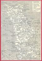 Carte Du Département De La Manche, Préfecture, Sous Préfecture, Chef Lieu , Commune, évêché... Larousse 1908 - Old Paper