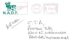 "Zimbabwe 2001 Westgate Meter Hasler ""Mailmaster"" HAS 40 EMA Commercial Farmers Cover - Zimbabwe (1980-...)"