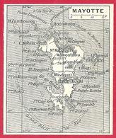 Carte De Lîle De Mayotte, Larousse 1908 - Old Paper