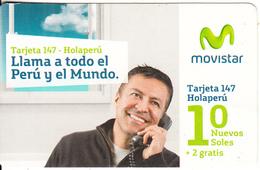 PERU - Man On Phone, Movistar By Telefonica Prepaid Card 10 Soles, 01/15, Used - Peru