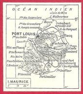 Carte De Lîle Maurice, Larousse 1908 - Old Paper