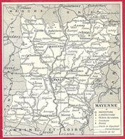 Carte Du Département De Mayenne, Préfecture, Sous Préfecture, Chef Lieu , Commune, évêché... Larousse 1908 - Old Paper