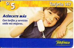 PERU - Little Child On Phone, Telefonica Prepaid Card S/.5, Exp.date 15/12/06, Used - Peru