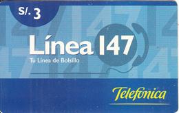 PERU - Linea 147, Telefonica Prepaid Card S/.3, No Date, Used - Peru