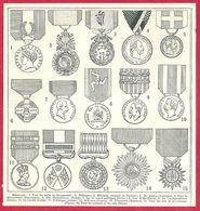Médailles, Médaille Pour Les Actes De Dévouement, Militaire, De Guerre (Autriche), De La Santé Publique... Larousse 1908 - Old Paper