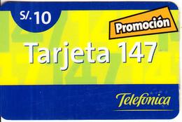 PERU - Promocion Tarjeta 147, Telefonica Prepaid Card S/.10, 10/01, Used - Peru