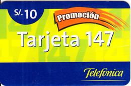 PERU - Promocion Tarjeta 147, Telefonica Prepaid Card S/.10, 03/02, Used - Peru