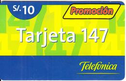 PERU - Promocion Tarjeta 147, Telefonica Prepaid Card S/.10, 08/02, Used - Peru