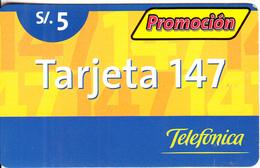 PERU - Promocion Tarjeta 147, Telefonica Prepaid Card S/.5, 09/02, Used - Peru