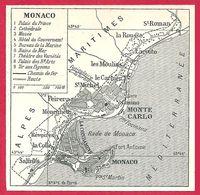 Carte De Monaco, Larousse 1908 - Old Paper