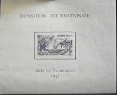 France (ex-colonies & Protectorats) > Guyane Française 1937 Bloc & Feuillet N° 1 Neuf** - Arts Et Techniques - TBE - French Guiana (1886-1949)