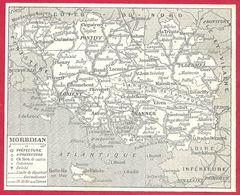 Carte Du Département Du Morbihan, Préfecture, Sous Préfecture, Chef Lieu , Commune, évêché... Larousse 1908 - Old Paper